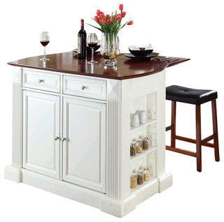 Crosley Coventry Drop Leaf Breakfast Bar Kitchen Island with Stools in ...
