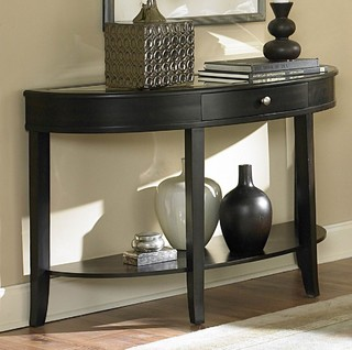 homelegance brooksby half moon mirrored sofa table in cherry contemporary side tables end. Black Bedroom Furniture Sets. Home Design Ideas