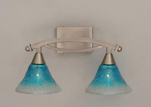 Brushed Nickel 2 Globe Vanity Bath Light Bar Interior: Bow Brushed Nickel Two-Light Bath Bar With Teal Crystal