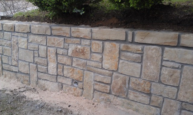 Drainage in Stone Retaining Wall dallas by Circle D