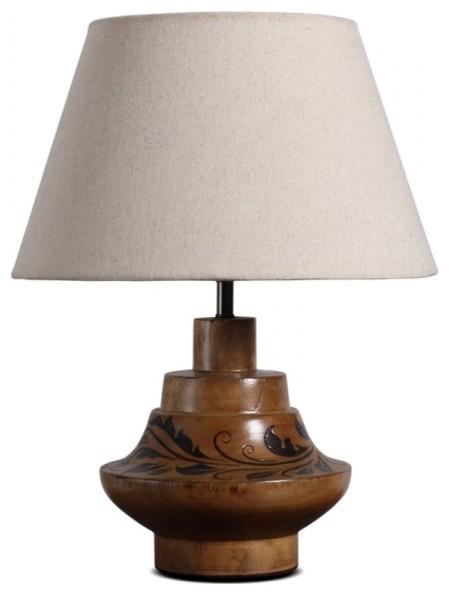 Handmade wood pot table lamp with fabric shade traditional table lamps - Handmade table lamp ...