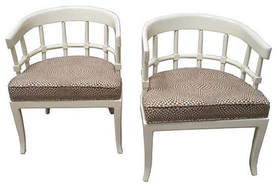 Pair Of Mid Century Cream Painted Chairs Living Room Chairs New York By