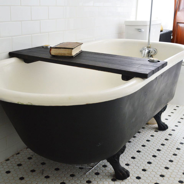 wooden tub caddy in black modern bathtubs
