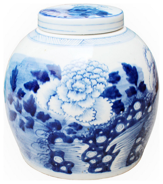 blue and white peony ancestor jar transitional kitchen blue and white kitchen canisters home design ideas
