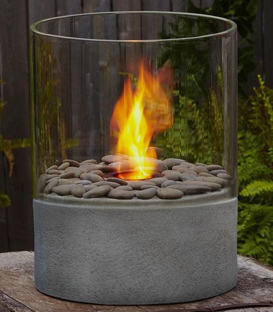 Modesto Fire Column Contemporary Tabletop Fireplaces By Home Decorators Collection