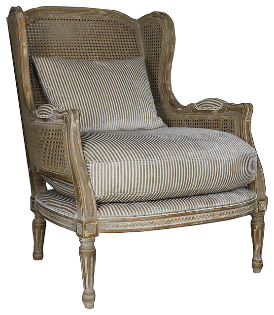 Montpelier French Country Buff Wing Back Salon Arm Chair ...