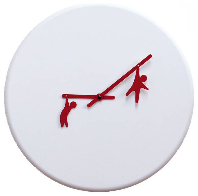 time2play white red 2055 wall clock contemporary wall
