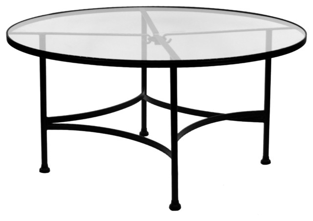Classico 48 rd round glass top dining table eclectic for Dining room tables milwaukee