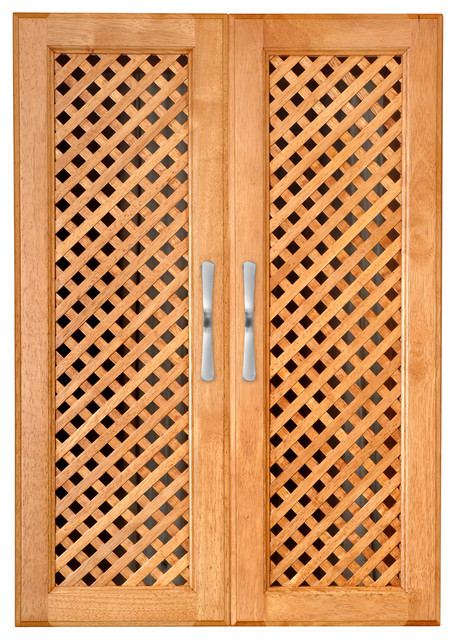 Solid Wood Closets Doors With Lattice Mesh, Set of 2 Maple Spice ...