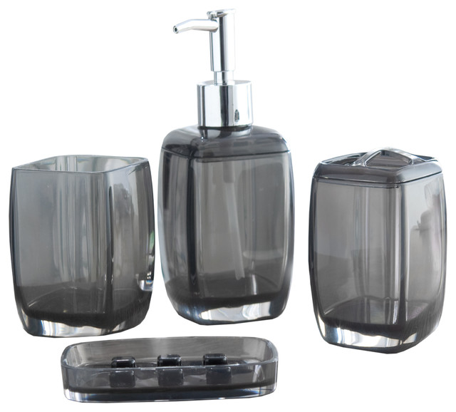 Bath bliss acrylic bathroom set 4 pieces contemporary for Bathroom accessories acrylic