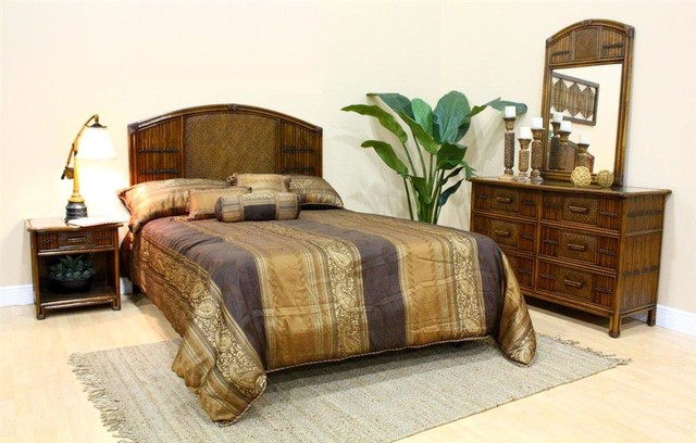 polynesian 4 pc twin bedroom set in antique f tropical