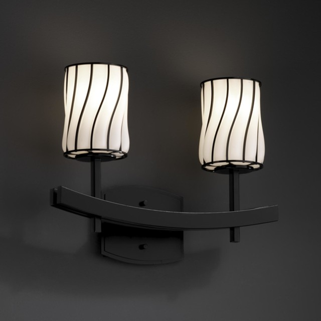 Black Bath Vanity Lights : Wire Glass Archway 2 Light 16