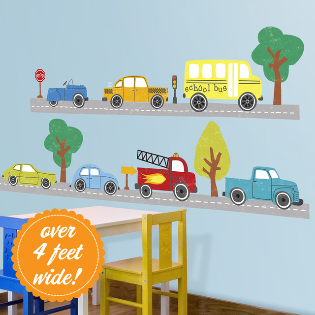 Image gallery large wall decals cars for Cars wall mural sticker