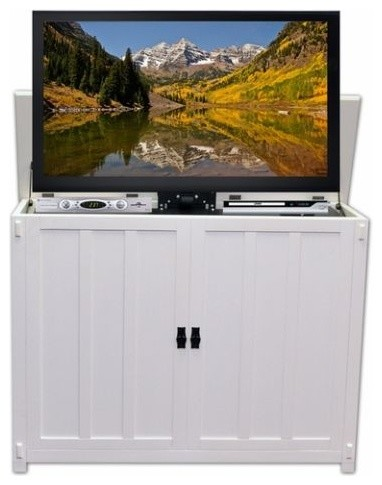 Elevate Tv Lift Cabinet Mission White Beach Style Entertainment