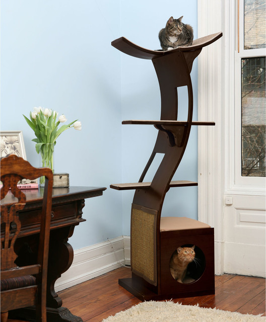 Refined feline little lotus tower cat tree contemporary - Contemporary cat furniture ideas ...