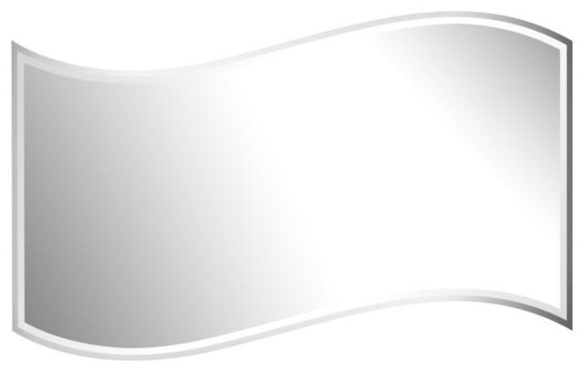 24''x36'' Wavy Beveled Polish Frameless Wall Mirror With