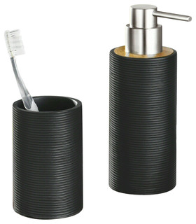 Bamboo Bath And Spa Accessory Set Matte Black Modern Bathroom Accessory Sets Other Metro
