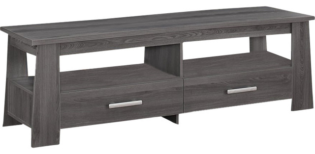 living room dark gray tv stand with 2 drawers 2 open. Black Bedroom Furniture Sets. Home Design Ideas