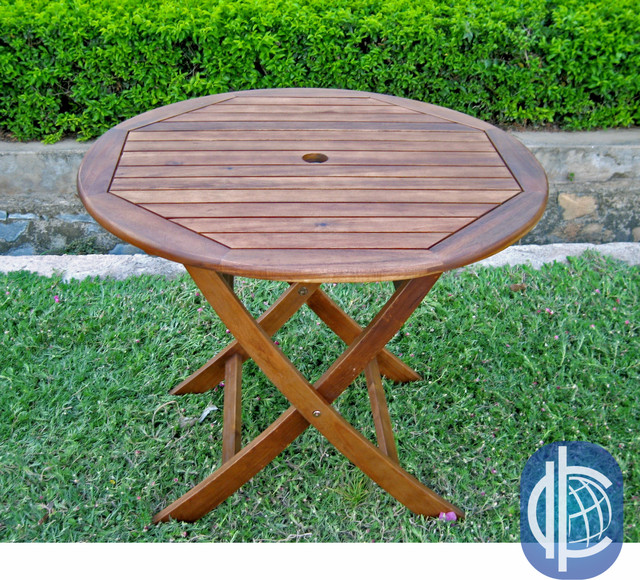 International Caravan Acacia 38 Inch Round Folding Table
