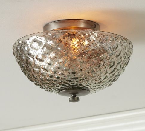 Hobnail Mercury Glass Flushmount Traditional Ceiling