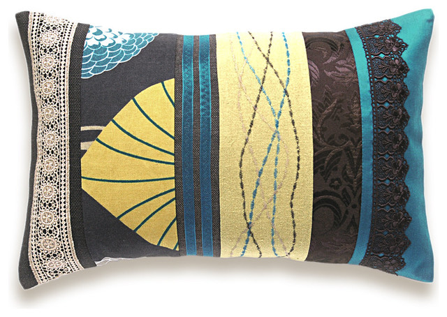 Eclectic Pillow Cases : Teal Beige Mustard Chocolate Embroidery Lumbar Pillow Case - Eclectic - Scatter Cushions - other ...