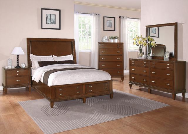 Jayden 5pc Storage California King Bedroom Set In Light Cherry Finish Modern Bedroom