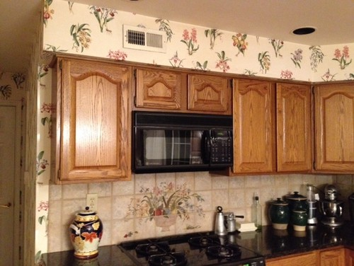 Unsightly kitchen soffits over cabinets - What to do with the space above kitchen cabinets ...