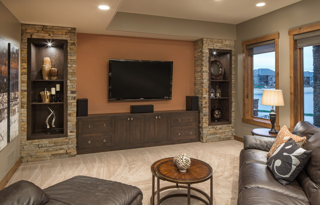 Rustic Modern Lake House Transitional Family Room