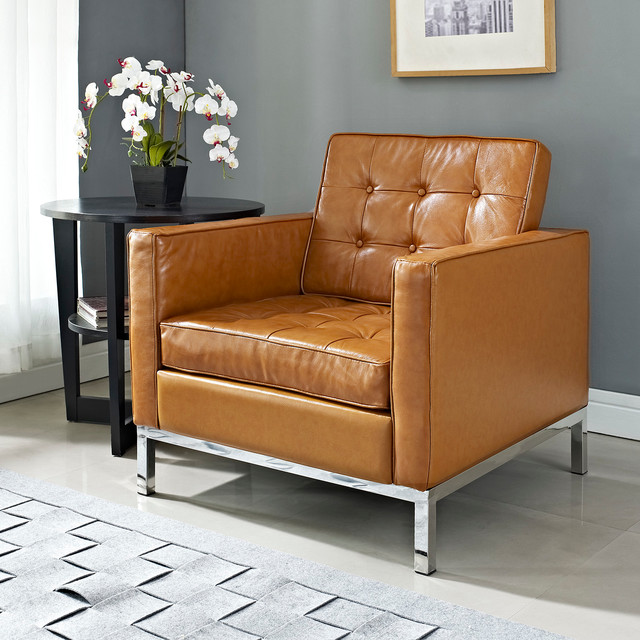 MODERN TAN LEATHER CLUB CHAIR LOFT Modern Armchairs And Accent Chairs S