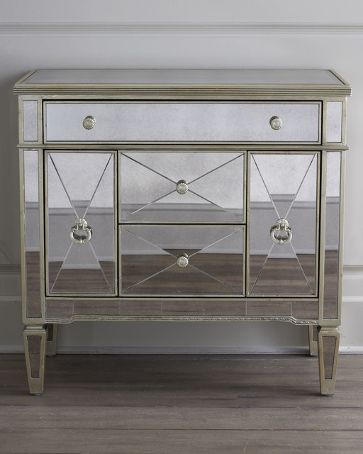 Amelie Small Mirrored Chest Accent Chests And Cabinets