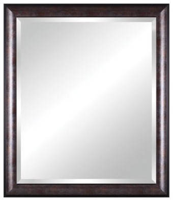 Vanity Beveled Mirror In Distressed Brown Black Silver With Bronze Leaf Lip Modern Bathroom Mirrors