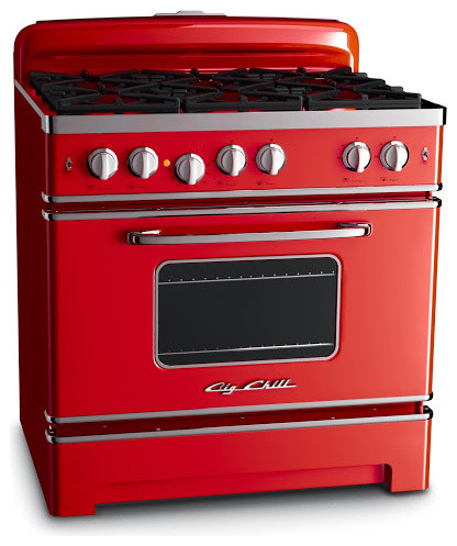 "Big Chill 36"" Retro Stove- Cherry Red - Gas Ranges And Electric Ranges - denver - by Big Chill"