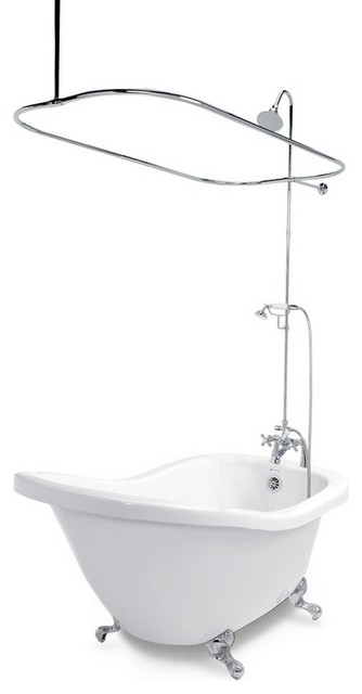 Clawfoot Bathtub W Faucet Shower Enclosure Traditional