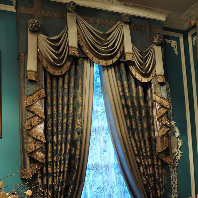 customized curtains in blue color midcentury curtains san
