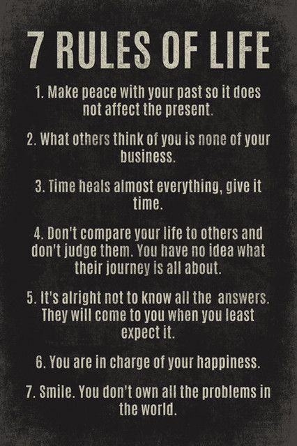 7 Rules Of Life Motivational Poster Print Contemporary