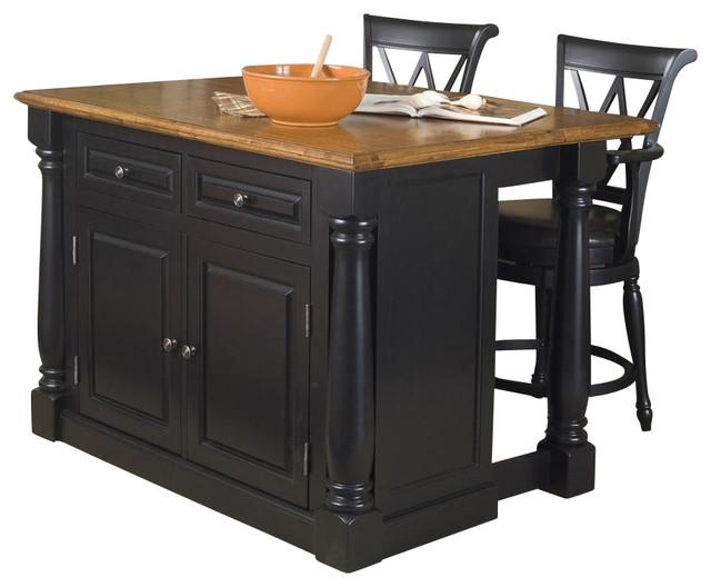 3 Pc Kitchen Island Set in Distressed Oak Finish Contemporary Kitchen Isl