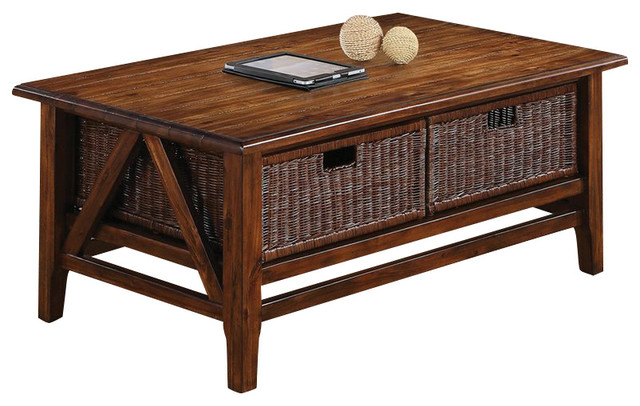 Riverside Furniture Claremont Cocktail Table With Baskets Toffee Tropical Coffee Tables