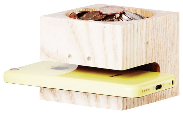 Block Head Wooden Phone Holder With Coin Tray modern-desk-accessories