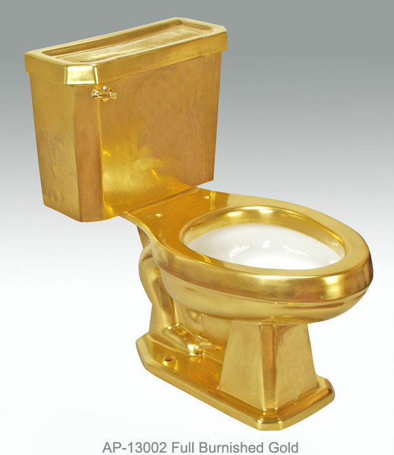 Full Gold Platinum Decorations Modern Toilets Miami By Atlantis