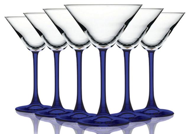 Cobalt Blue Stem Margarita Glasses 67