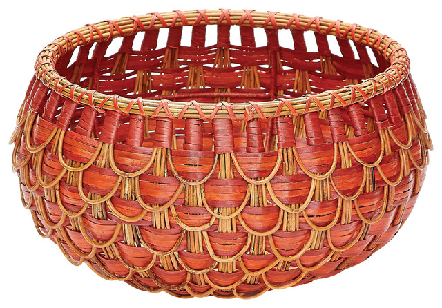 Small fish scale basket in red and orange traditional for Live fish basket