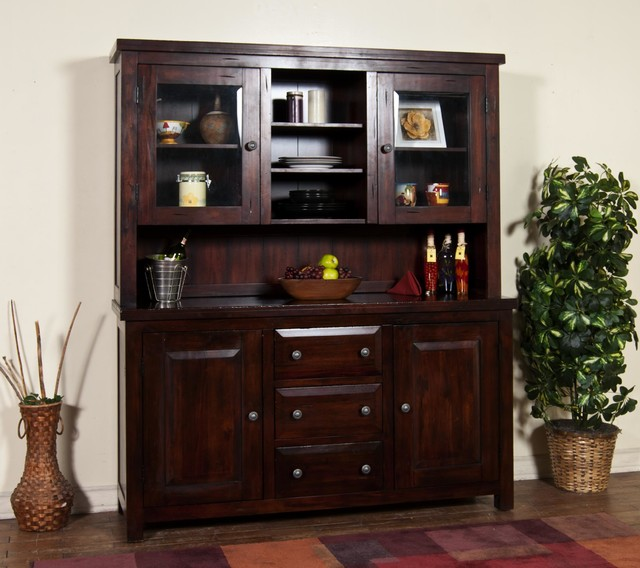 Sunny designs vineyard hutch and buffet in rustic mahogany for Modern living room hutch