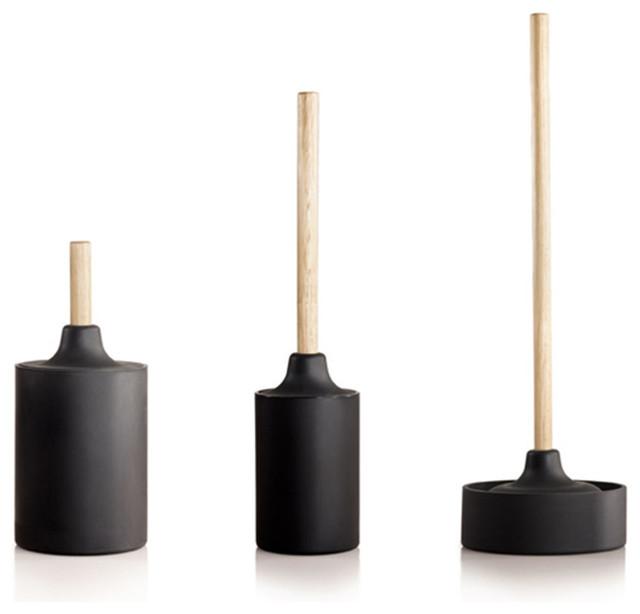 black plunger toilet brush waste basket set contemporary bathroom accessories by dot bo. Black Bedroom Furniture Sets. Home Design Ideas