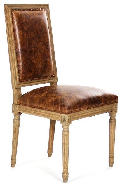 Best Oak Dining Side Chairs ~ Louis side chair natural oak with top grained leather
