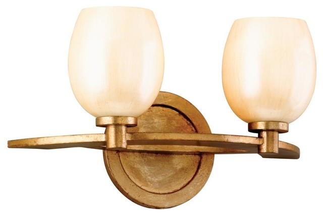 Two light champagne leaf vanity transitional bathroom - Champagne bronze bathroom vanity light ...