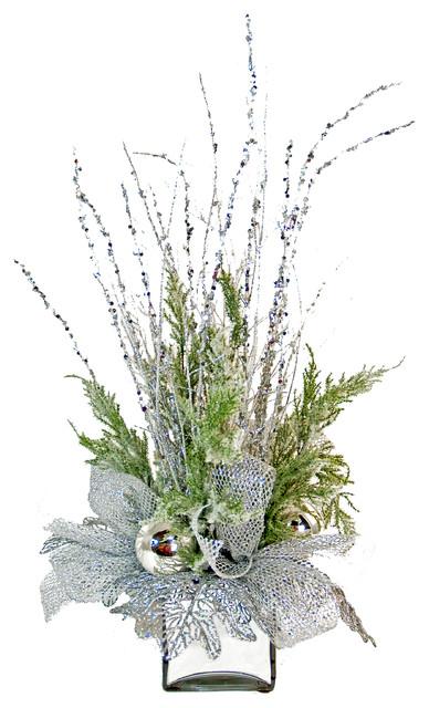 Silver Silk Floral Arrangement Eclectic Artificial