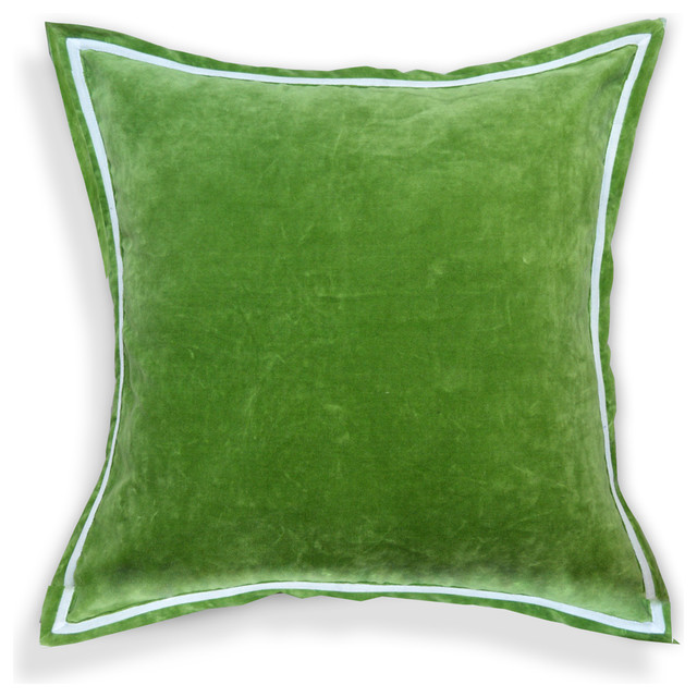 Solid Velvet Designer 20-inch White Piping Throw Pillows, Olive Green - Contemporary - Scatter ...