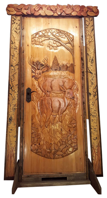 Door Valence And Surround Hand Carved Wood Birch Trees 32 Holiday Accents And Figurines