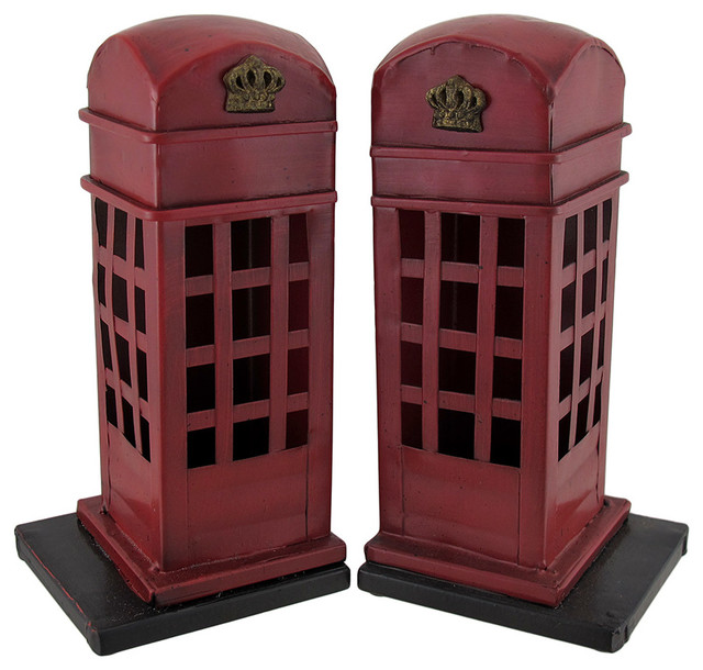 Retro British Phone Booth Metal Bookends Hand Painted - Traditional - Bookends - by Zeckos