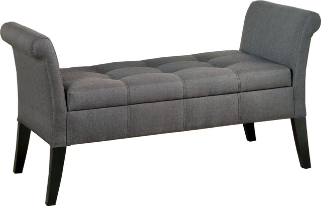 Contemporary Tufted Fabric Storage Bench With Curved Arms Gray Transitional Accent And